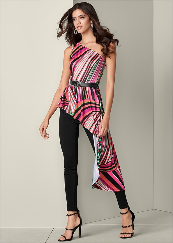 Asymmetric Belted Top,Mid Rise Slimming Stretch Jeggings