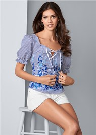 Front View Embroidered Lace Up Top