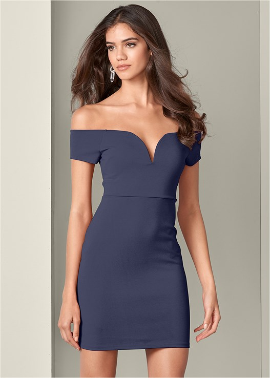 SWEETHEART BODYCON DRESS,ASYMMETRICAL STRAPPY HEELS
