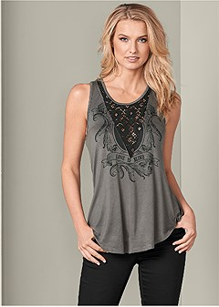 lace detail graphic top