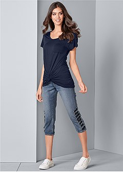 lace up detail jean capris