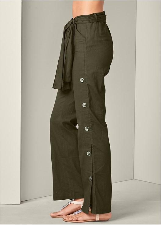 BUTTON DETAIL LINEN PANTS,EASY HALTER TOP,EMBELLISHED THONG SANDALS