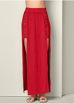 lace up detail maxi skirt