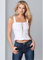 lace up denim top