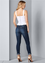 Back View Lace Up Denim Top