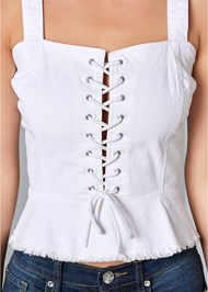 Alternate View Lace Up Denim Top