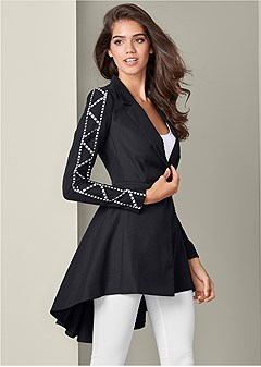 trim detail high low blazer