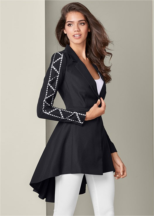 TRIM DETAIL HIGH LOW BLAZER,SEAMLESS CAMI,SLIMMING STRETCH JEGGINGS,HIGH HEEL SANDALS,RHINESTONE RING NECKLACE,SEAMLESS SHAPING CAMI 2PK
