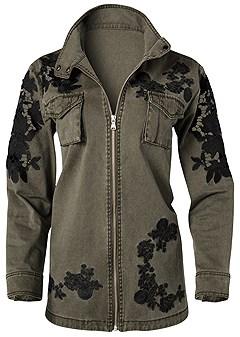plus size lace detail jacket
