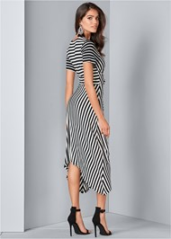 Back View Striped Faux Wrap Dress
