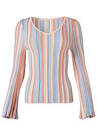 Alternate View Striped Bell Sleeve Sweater