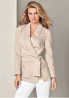 tie detail linen blazer