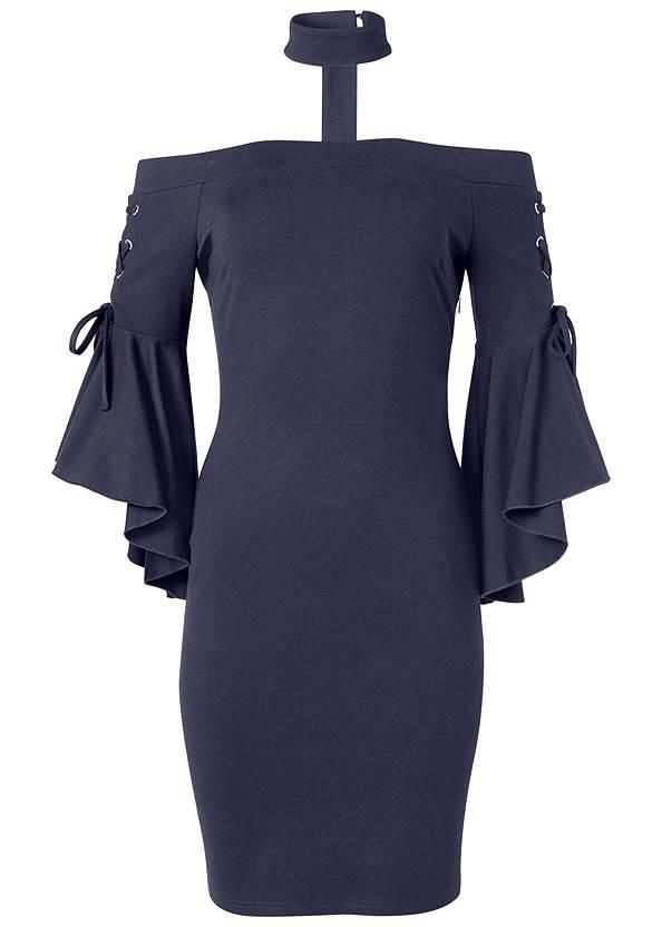 Alternate View Choker Sleeve Detail Dress