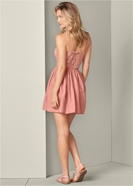 Full back view Cut Out Lace A-Line Dress
