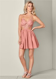Full front view Cut Out Lace A-Line Dress