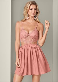 Cropped front view Cut Out Lace A-Line Dress