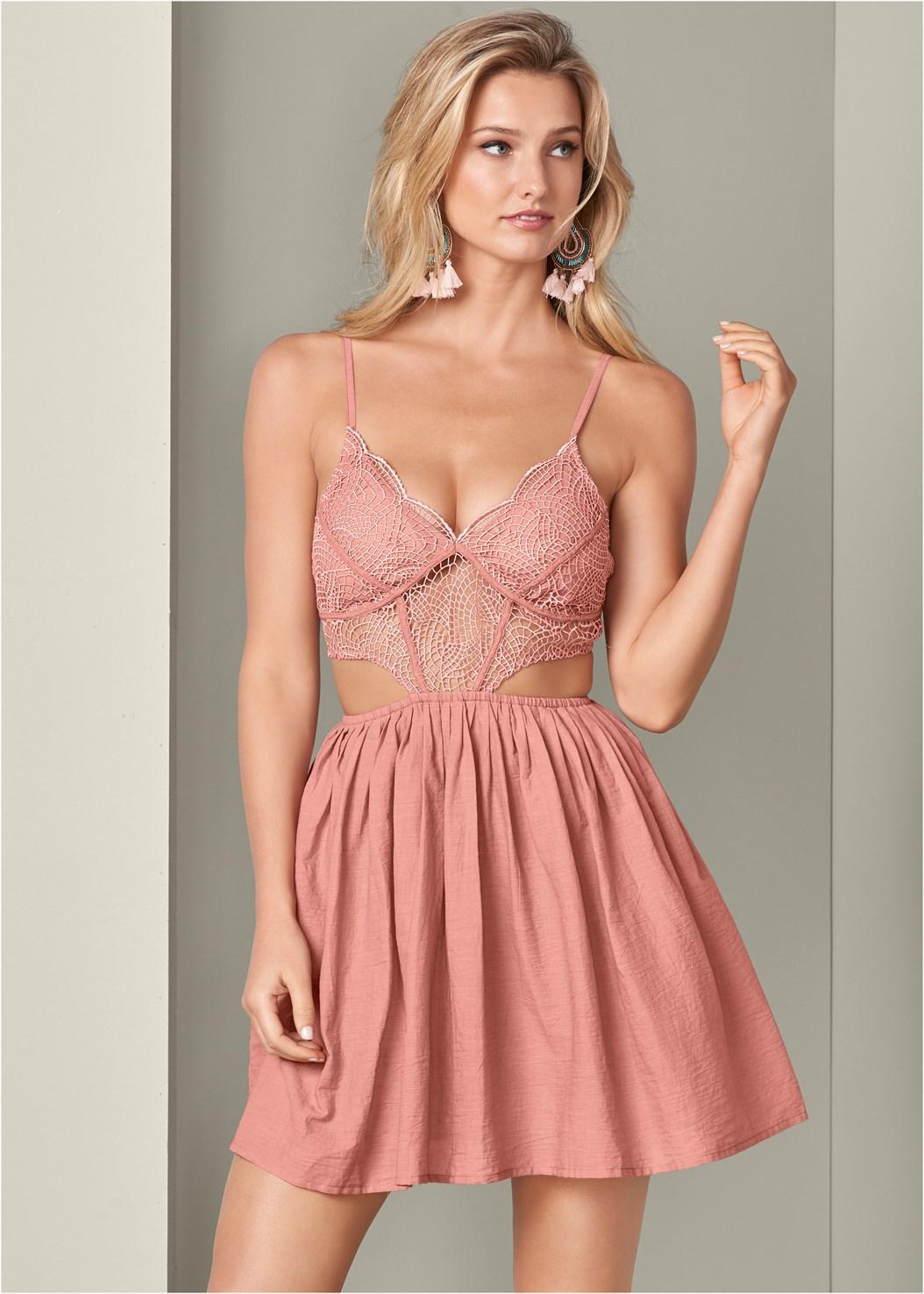 Cut Out Lace A-Line Dress