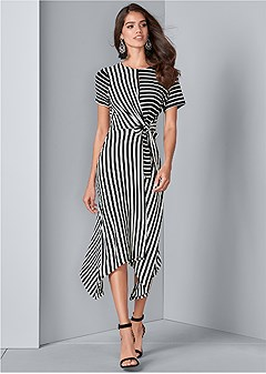 striped faux wrap dress