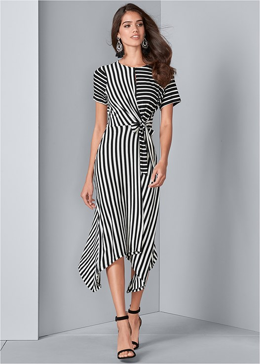 STRIPED FAUX WRAP DRESS,EMBELLISHED LUCITE HEEL