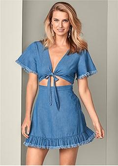 chambray cut out dress