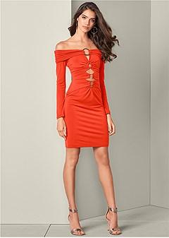 trim detail high low dress