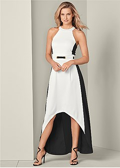 color block high low dress