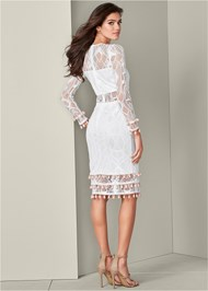 Back View Tassel Trim Lace Midi Dress