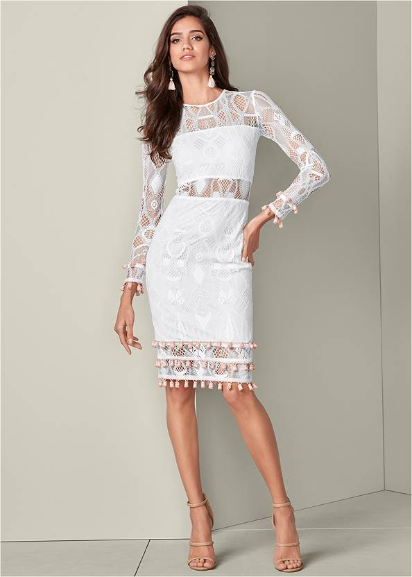 Alternate View Tassel Trim Lace Midi Dress