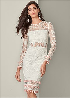 tassel detail lace dress