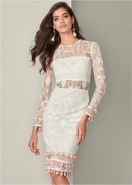 Front View Tassel Trim Lace Midi Dress