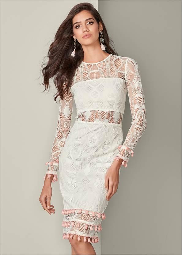 Tassel Trim Lace Midi Dress,High Heel Strappy Sandals