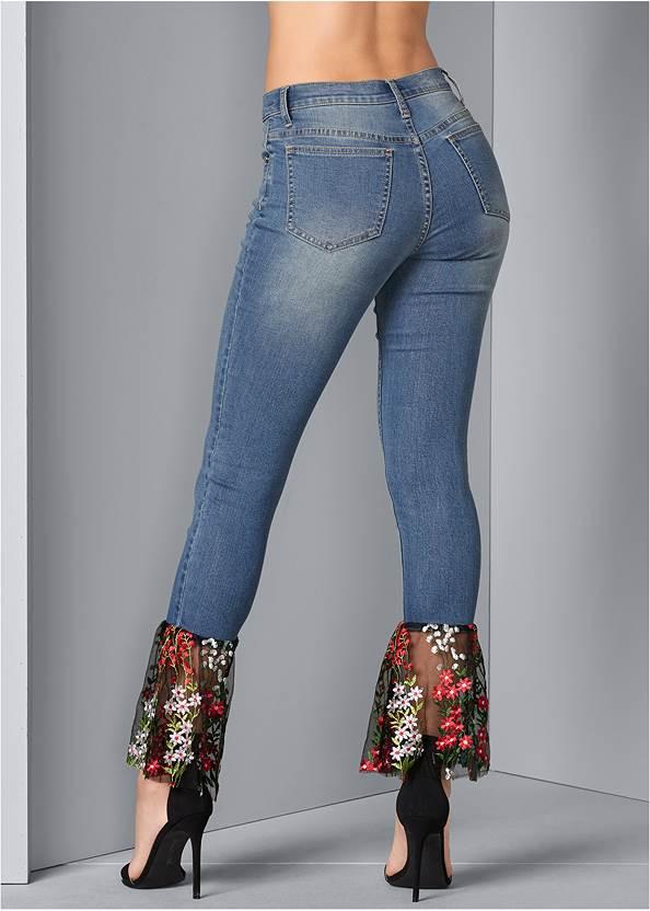 Back View Lace Detail Jeans
