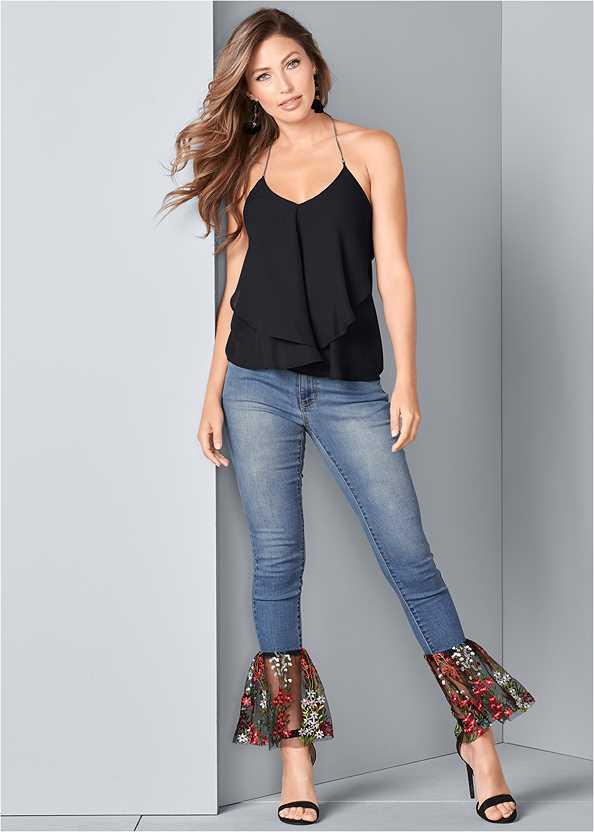 Lace Detail Jeans,Bauble Fringe Earrings