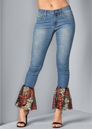 Front View Lace Detail Jeans