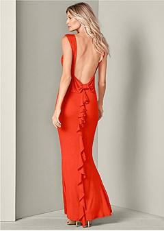 bow detail open back dress