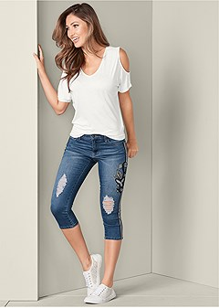 racing stripe jean capris