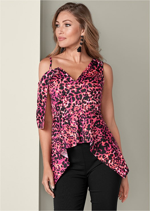 COLD SHOULDER PRINT TOP,SLIMMING STRETCH JEGGINGS