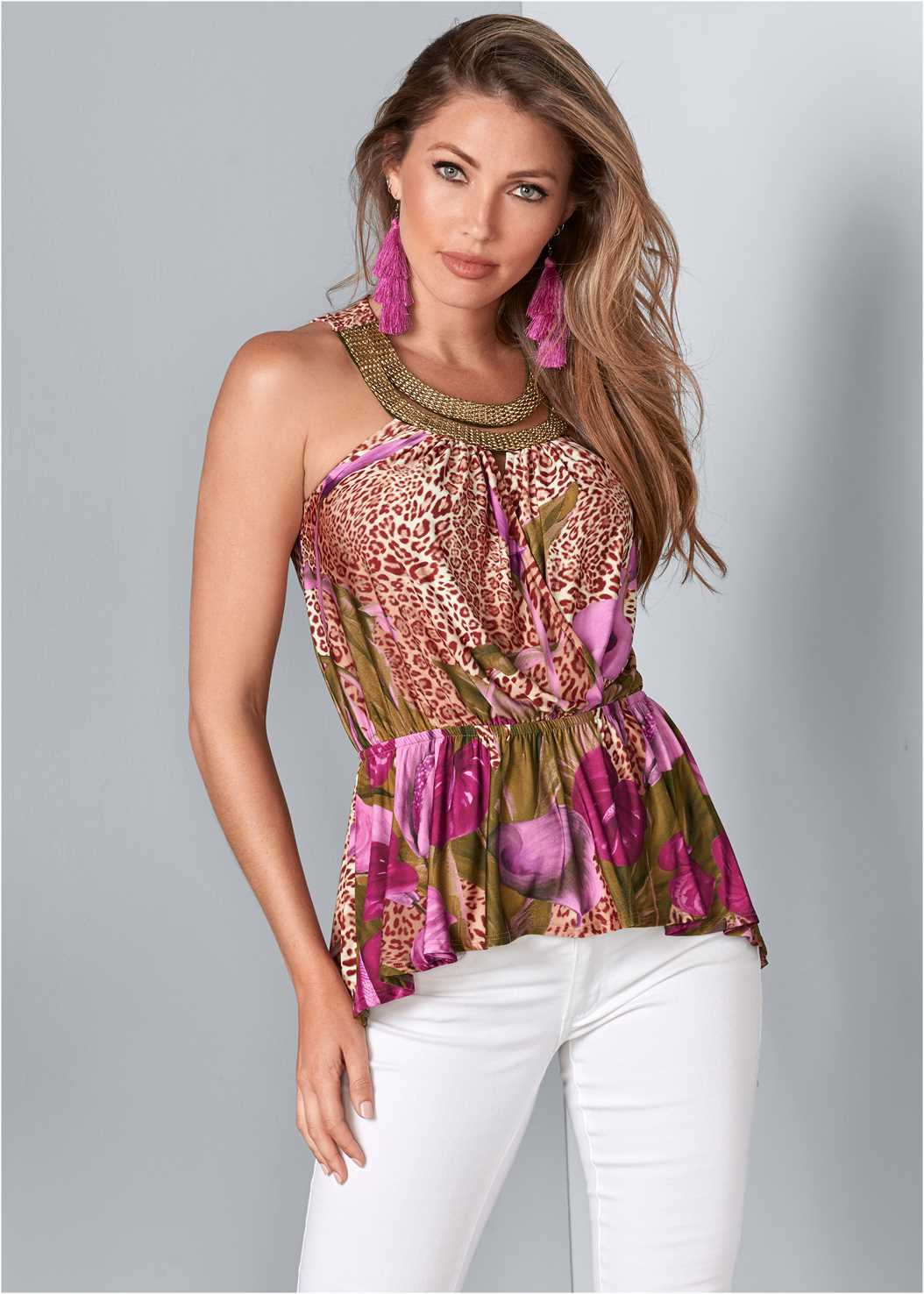 Surplice Print Top,Mid Rise Color Skinny Jeans