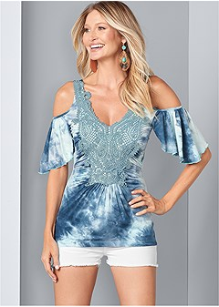 5e0e792275 tie dye cold shoulder top
