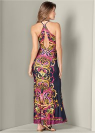 Back View Necklace Detail Maxi Dress