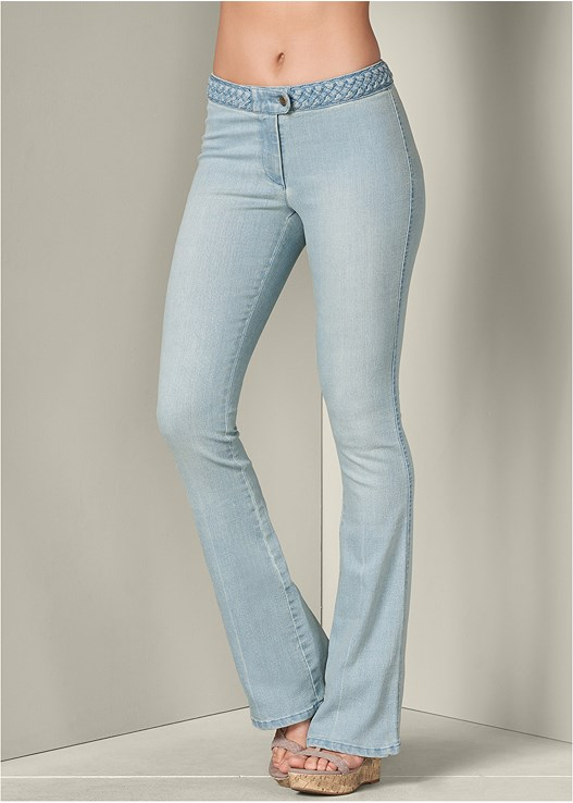 BRAIDED WAIST JEANS,LACE THONG 3 FOR $19