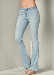 Front View Braided Waist Bootcut Jeans