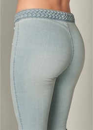 Back View Braided Waist Bootcut Jeans