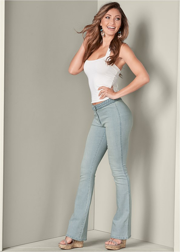 Braided Waist Bootcut Jeans,Easy Halter Top,Lace Thong 3 For $19,Cut Out Detail Jeans