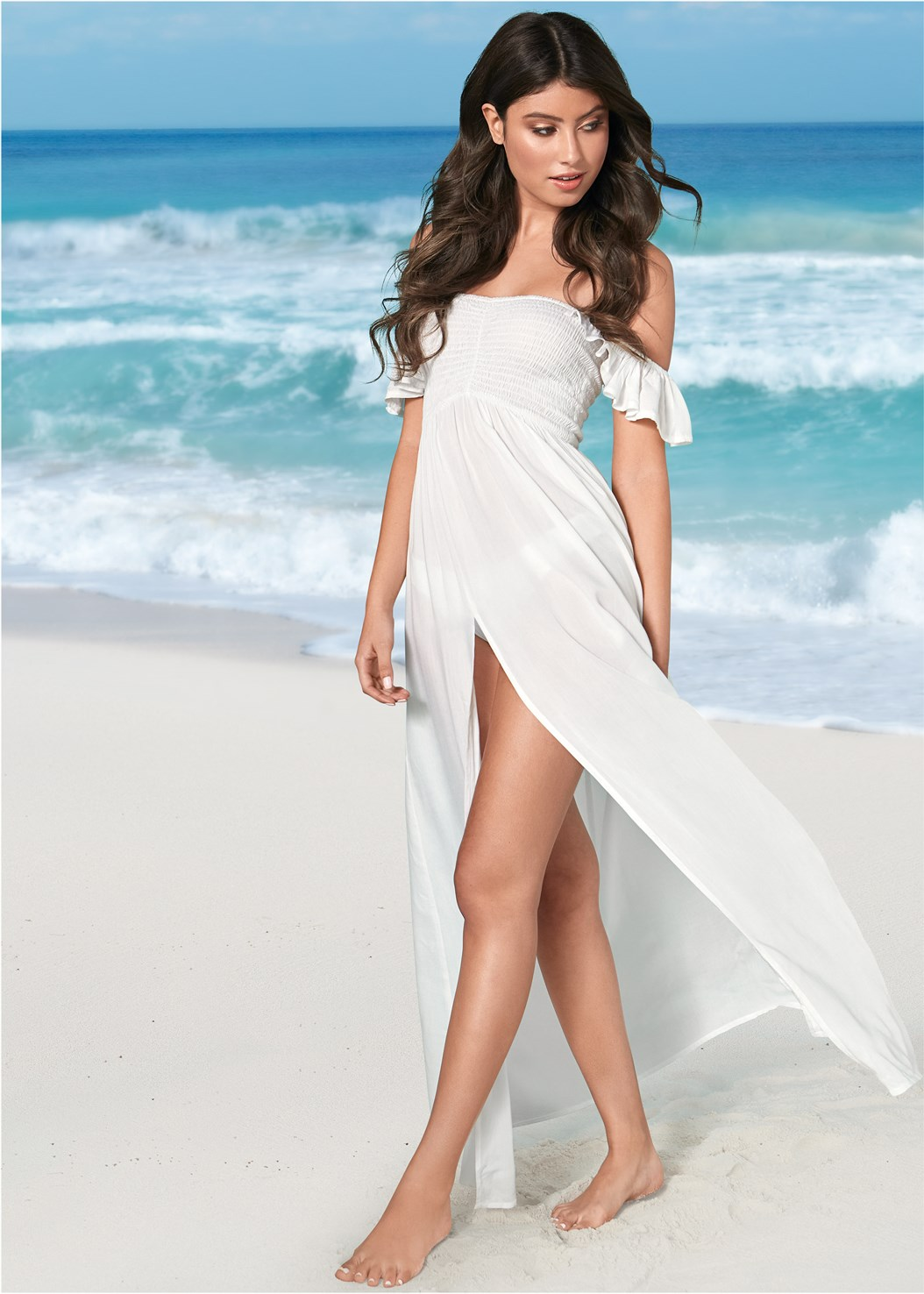 Ruffle Sleeve Maxi Cover-Up,Versatility By Venus™  Reversible Bandeau Top,Cherry Sandal