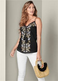 Front View Embroidered Tassel Top