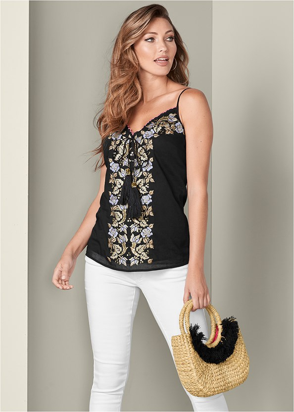 Embroidered Tassel Top,Mid Rise Color Skinny Jeans,Lucite Heel Mules,Woven Handbag