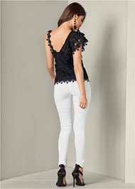 Back View Ruffle Detail Lace Top