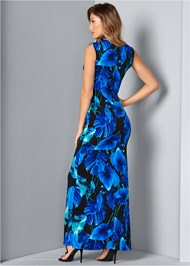 Back View Drape Detail Print Dress