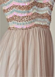 Alternate View Embellished Mesh Long Dress